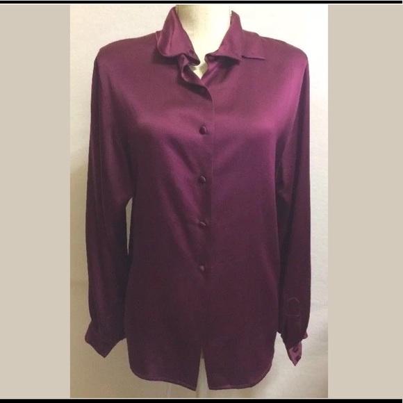 a2f8d606610b46 Jaeger Tops   Vintage Silk Button Down Shirt   Poshmark